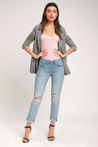 501 Taper Light Wash Distressed Jeans - Lulus