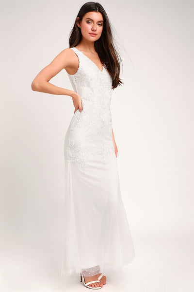 Hadleigh White Embroidered Lace Sleeveless Maxi Dress - Lulus