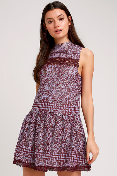 Belrose Burgundy and Lavender Lace Mini Dress - Lulus