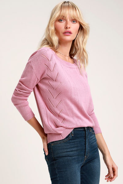 Pointelle Me More Mauve Pink Knit Sweater - Lulus