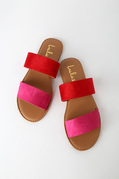 Time To Chill Red Fuchsia Slide Sandal Heels - Lulus