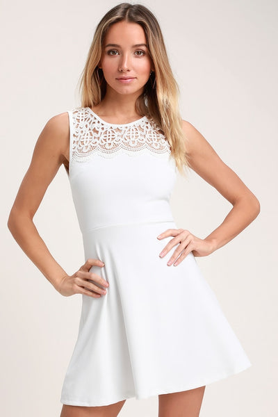 According to Love White Lace Skater Dress - Lulus