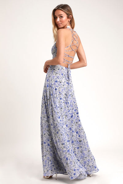 Dora Light Blue Floral Print Lace-Up Maxi Dress - Lulus