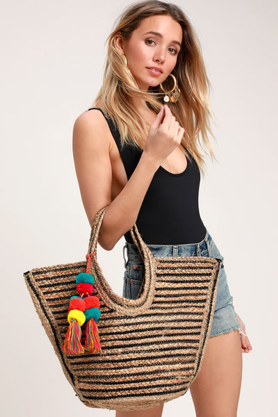 Sun-Sational Beige and Black Striped Woven Tote Bag - Lulus