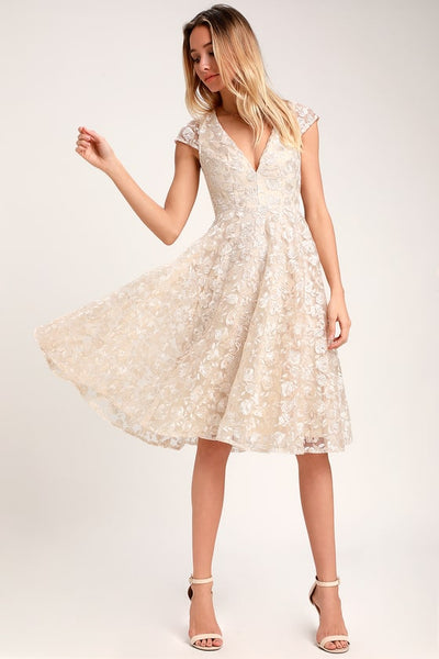 Jacqueline Champagne Floral Lace Backless Midi Dress - Lulus