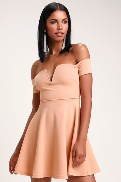 Play the Party Peach Off-the-Shoulder Skater Dress - Lulus