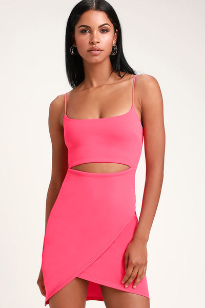 Cutout On The Town Hot Pink Cutout Bodycon Dress - Lulus