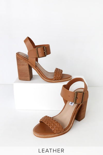 Cadence Cognac Leather High Heel Sandal Heels - Lulus