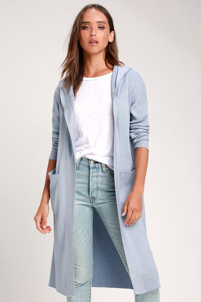 Becket Light Blue Ribbed Hooded Long Cardigan Sweater - Lulus