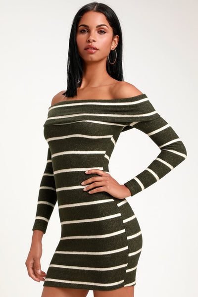 Nella Olive Green Striped Off-the-Shoulder Sweater Dress - Lulus