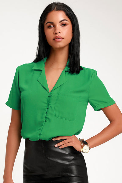 Good Luck Charm Green Short Sleeve Button-Up Top - Lulus