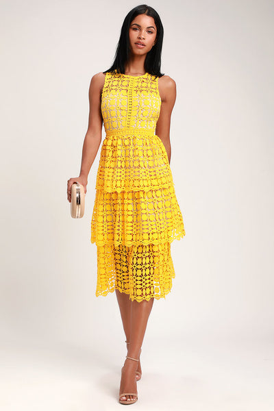 Larissa Yellow Crochet Lace Sleeveless Midi Dress - Lulus