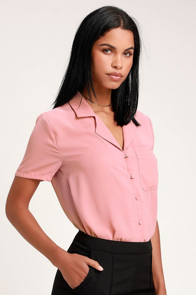 Good Luck Charm Mauve Short Sleeve Button-Up Top - Lulus