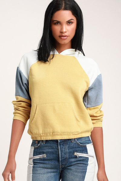 Bellarose Yellow Multi Color Block Hoodie - Lulus