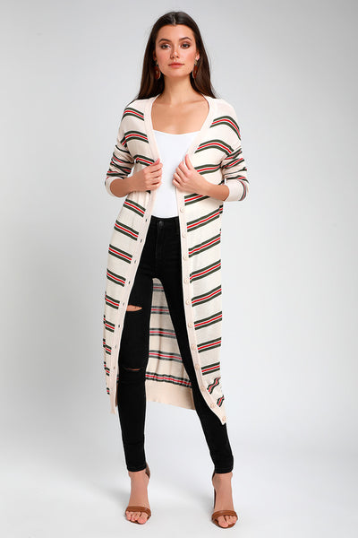 It's All Good Beige Striped Midi Cardigan Sweater - Lulus