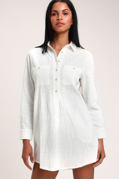 Malta White Long Sleeve Shirt Dress - Lulus