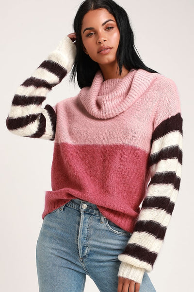 Sidni Pink Multi Stripe Cowl Neck Sweater - Lulus