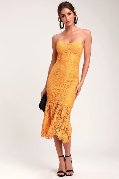 Divine Nights Golden Yellow Lace Strapless Midi Dress - Lulus