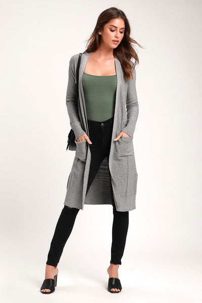 Kendall Light Grey Cardigan Sweater - Lulus