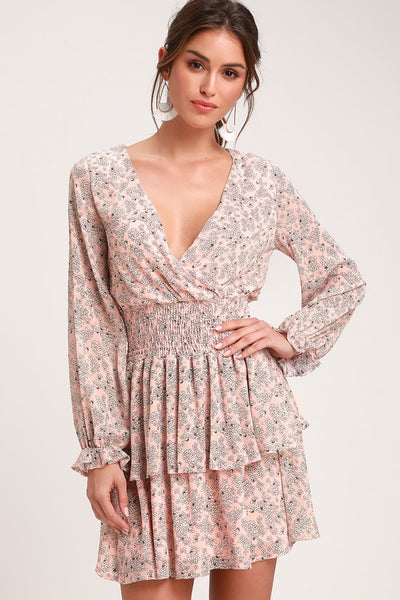 Room to Bloom Light Pink Floral Print Long Sleeve Dress - Lulus