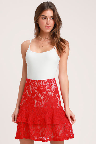 Eternal Romance Red Lace Mini Skirt - Lulus