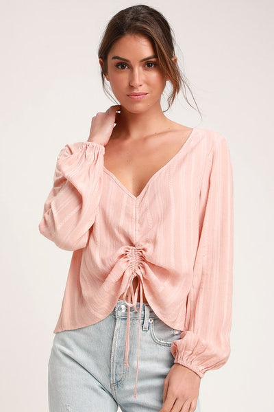 Del Rey Peach Ruched Long Sleeve Top - Lulus