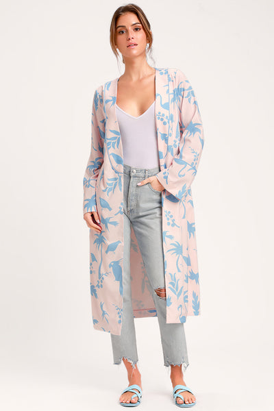 Daily Indulgence Blush and Blue Print Duster Robe - Lulus
