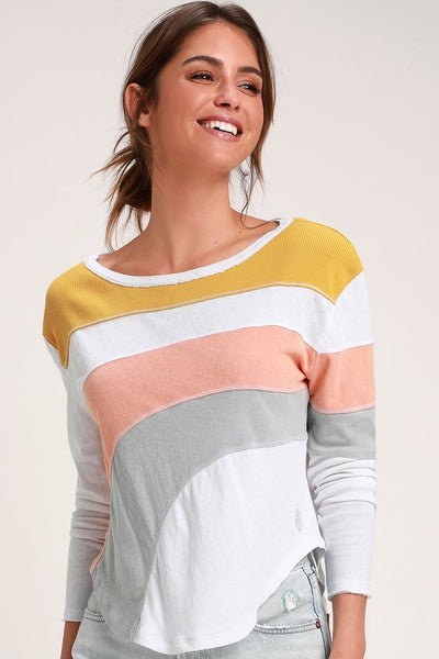 Sun Downer Ivory Multi Color Block Long Sleeve Top - Lulus