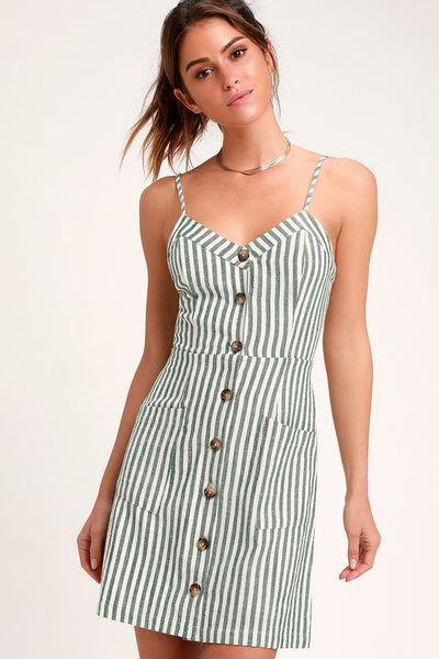 On the Pier Green and White Striped Button Front Mini Dress - Lulus