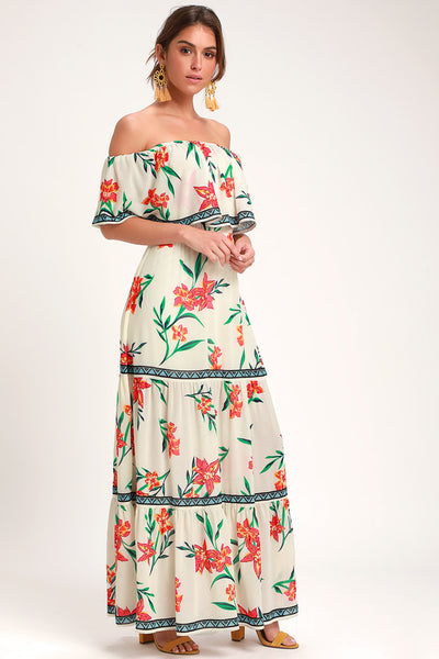 Cancun Cutie Ivory Floral Print Off-the-Shoulder Maxi Dress - Lulus