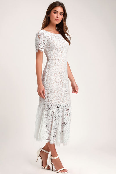 Love You Tonight White Lace Midi Dress - Lulus