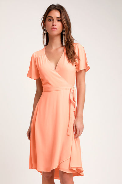 Rise to the Occasion Peach Midi Wrap Dress - Lulus
