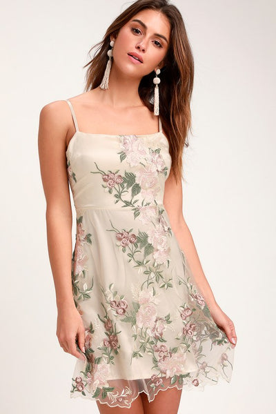 Aubrie Champagne Floral Embroidered Skater Dress - Lulus