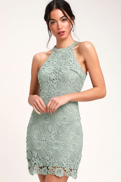 Love Poem Sage Green Lace Dress - Lulus
