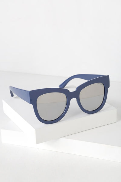 Say Hey Blue and Silver Mirrored Oversized Sunglasses - Lulus