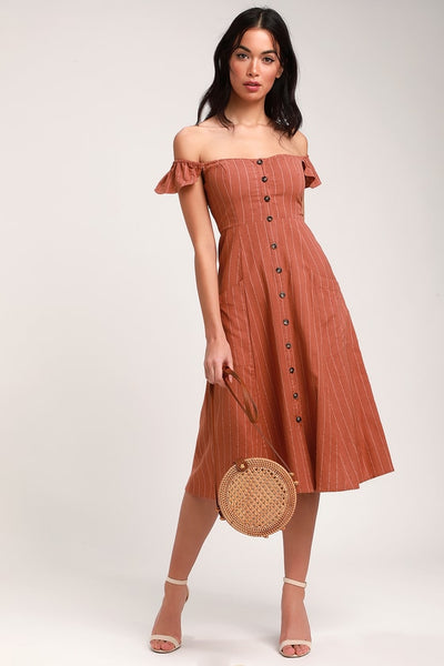 Shady Spot Rusty Rose Striped Off-the-Shoulder Midi Dress - Lulus