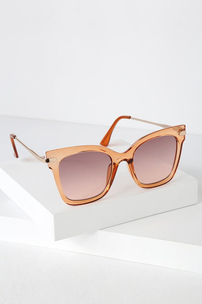 Cha Ching Clear Peach Square Sunglasses - Lulus