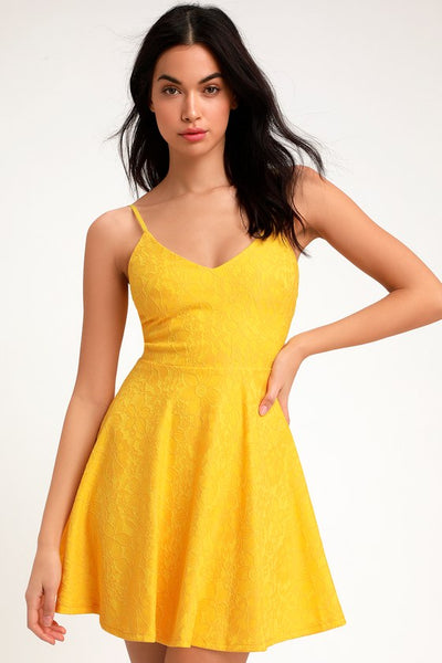 Way With Words Yellow Lace Skater Dress - Lulus