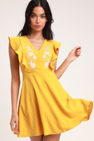 New Adventure Yellow Embroidered Skater Dress - Lulus