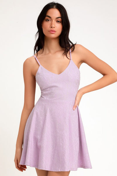 Way With Words Lavender Lace Skater Dress - Lulus