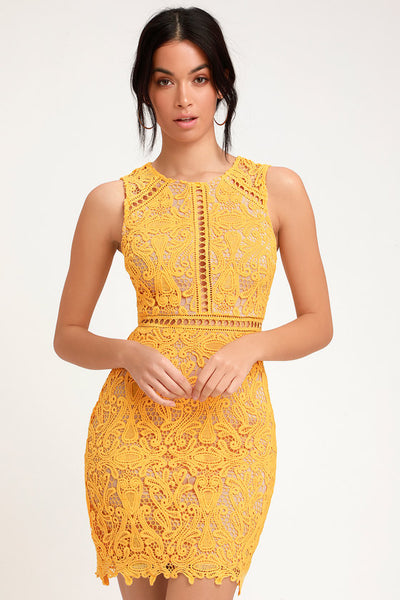 Dream Life Yellow Lace Bodycon Dress - Lulus