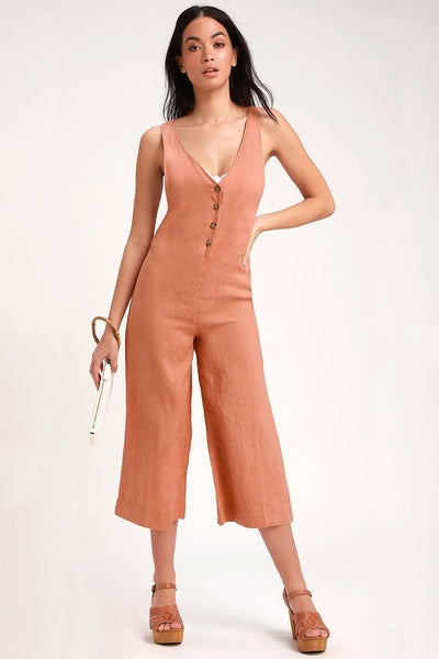 Amalfi Rusty Rose Linen Wide-Leg Sleeveless Jumpsuit - Lulus