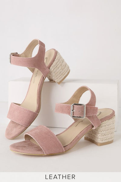 Whirlaway Blush Genuine Suede Leather Ankle Strap Heels - Lulus