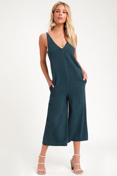 Rest and Relaxation Washed Navy Blue Culotte Jumpsuit - Lulus