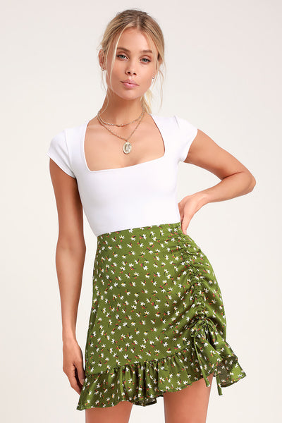 Pondering Petals Green Floral Print Ruched Mini Skirt - Lulus