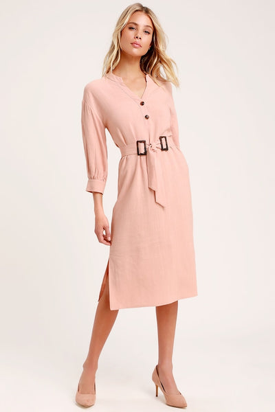 Gwendolen Blush Pink Belted Midi Shift Dress - Lulus