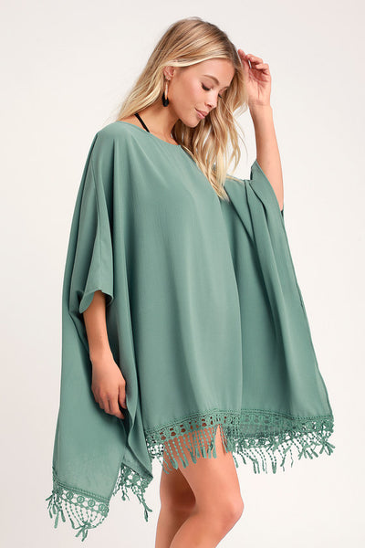 To the Hills Sage Blue Crochet Cover-Up - Lulus