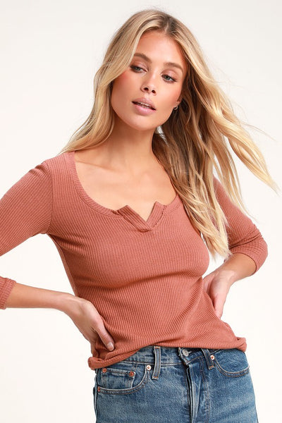 Millie Rusty Rose Ribbed Long Sleeve Top - Lulus