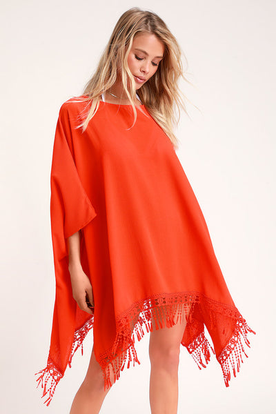To the Hills Bright Red Crochet Cover-Up - Lulus
