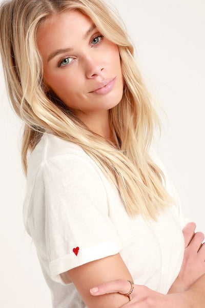 Heart on Sleeve White Embroidered Tee - Lulus